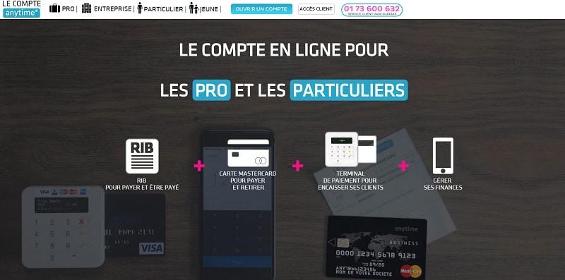 le Compte Anytime compte pro banque en ligne néobanque