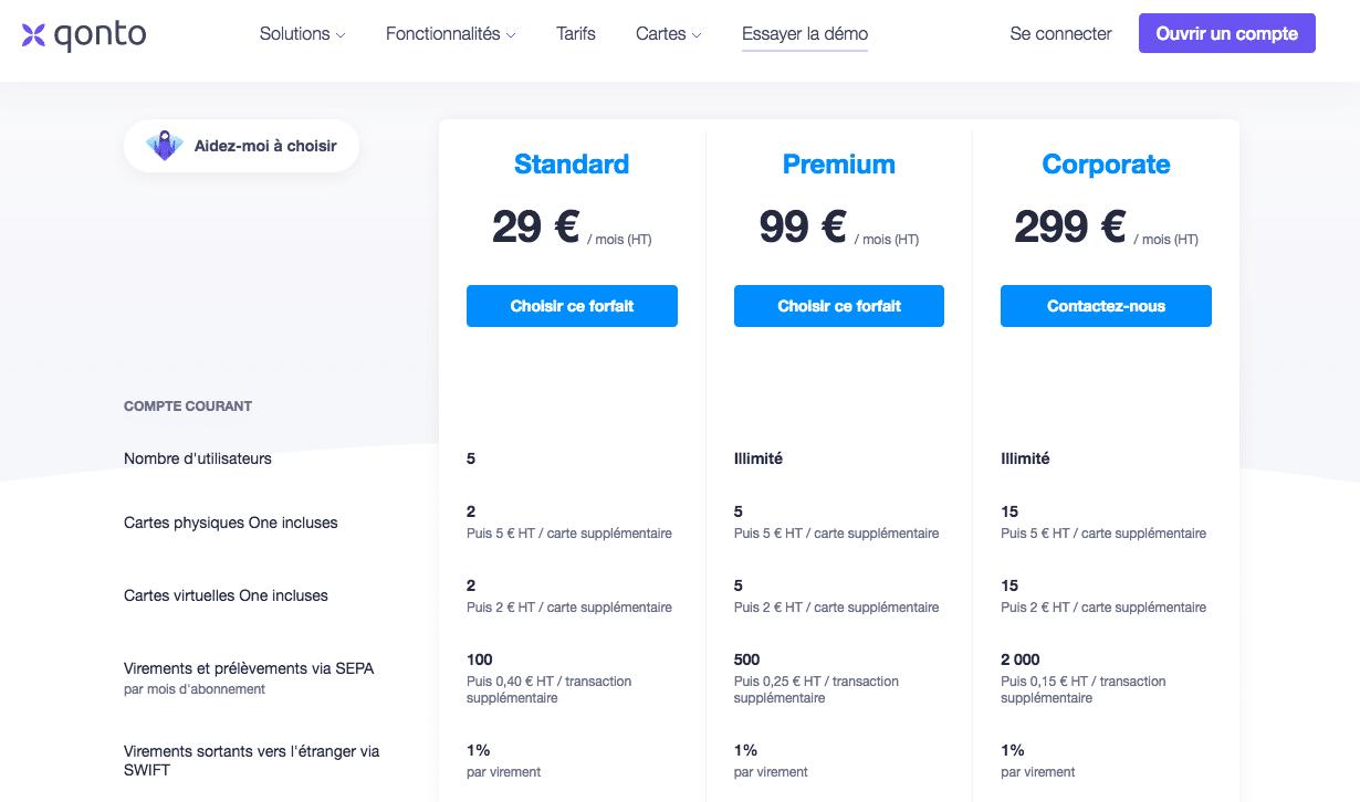 Les offres Equipes de Qonto