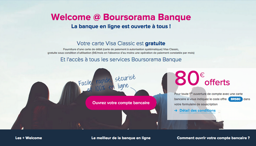 Welcome de Boursorama Banque