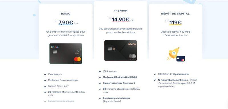 Shine : Les cartes bancaires proposées