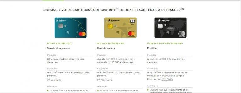 Les différents types de cartes bancaires de Fortuneo