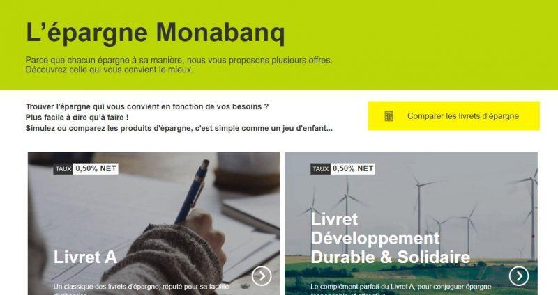 Monabanq : Les livrets d'épargne