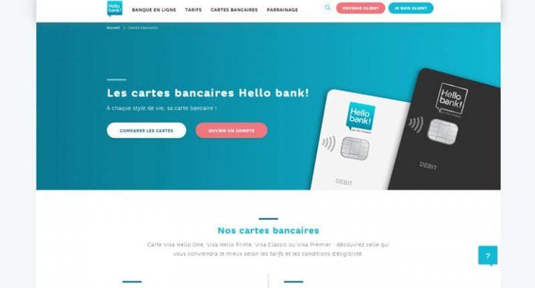 Hello Bank : Les cartes bancaires proposées