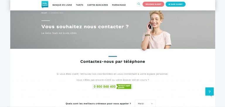 Hello bank : Contacter le service client