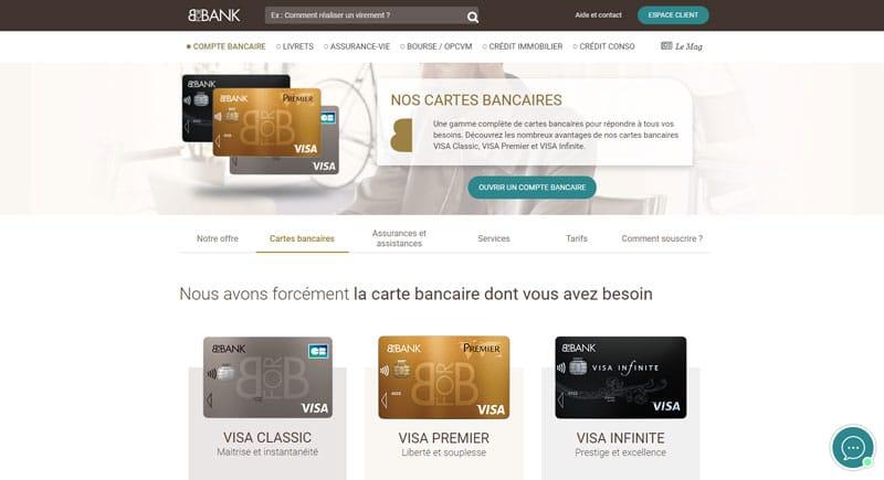 Les cartes bancaires proposées