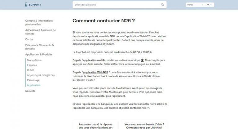 N26 : Contacter le service client