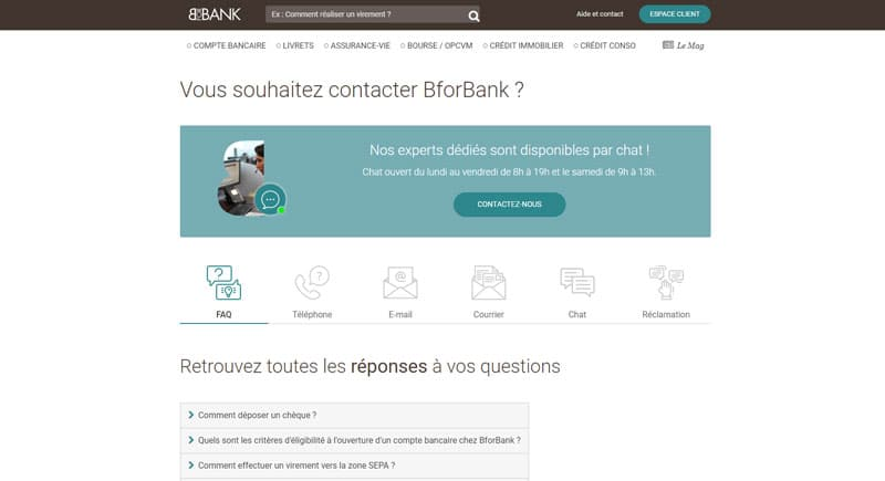 BforBank : Contacter le service client
